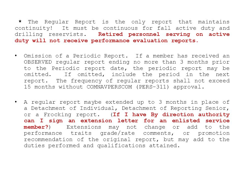 The Regular Report is the only report that maintains continuity