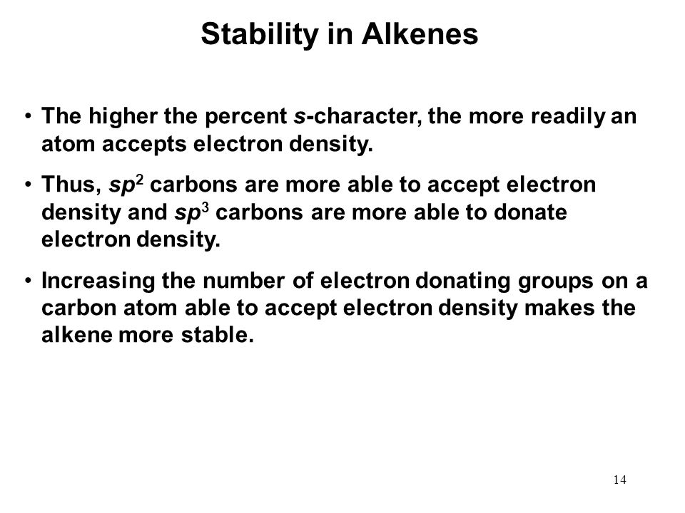 Stability in Alkenes The higher the percent s-character, the more readily an atom accepts electron density.