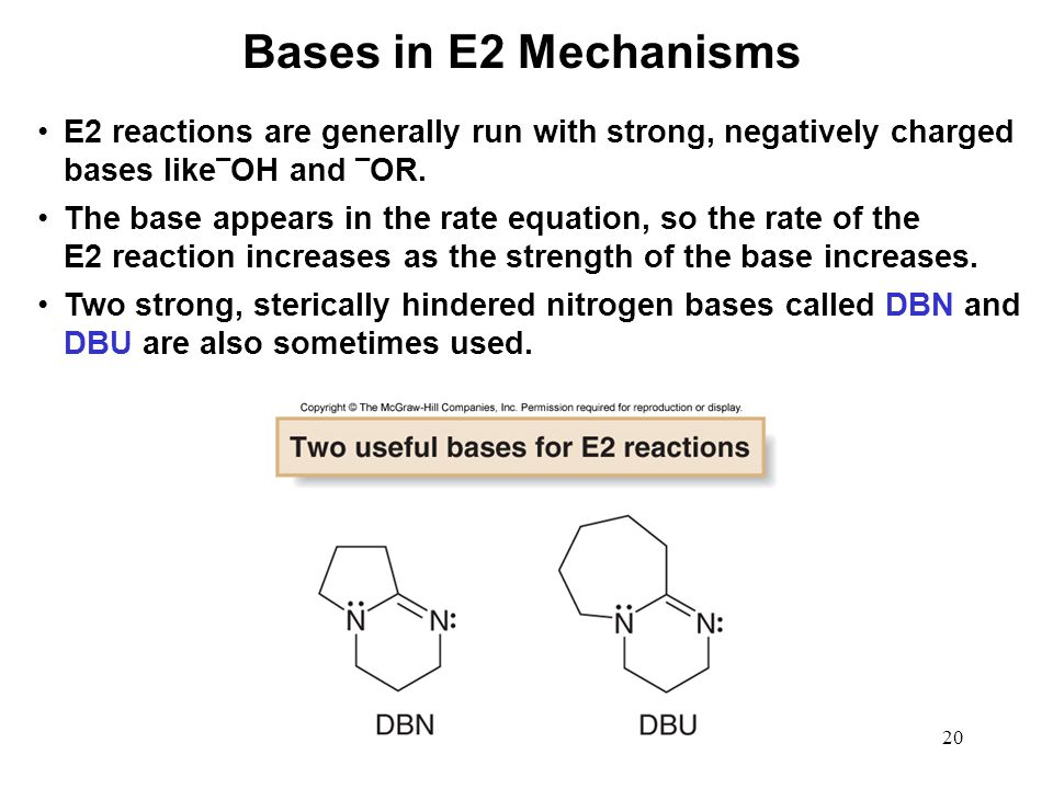 Bases in E2 Mechanisms E2 reactions are generally run with strong, negatively charged bases like¯OH and ¯OR.