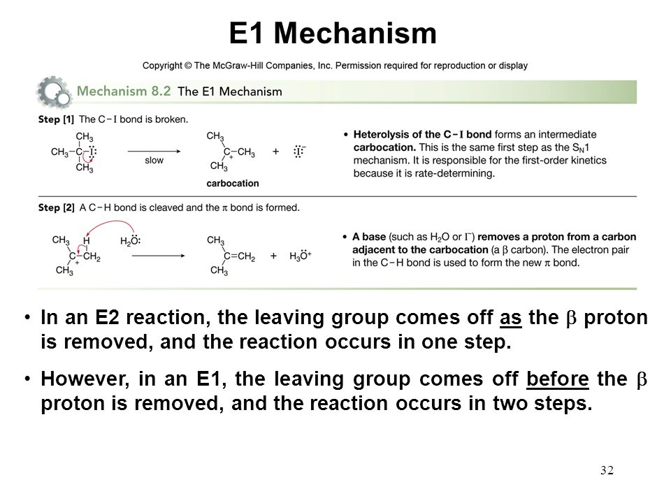 E1 Mechanism In an E2 reaction, the leaving group comes off as the  proton is removed, and the reaction occurs in one step.