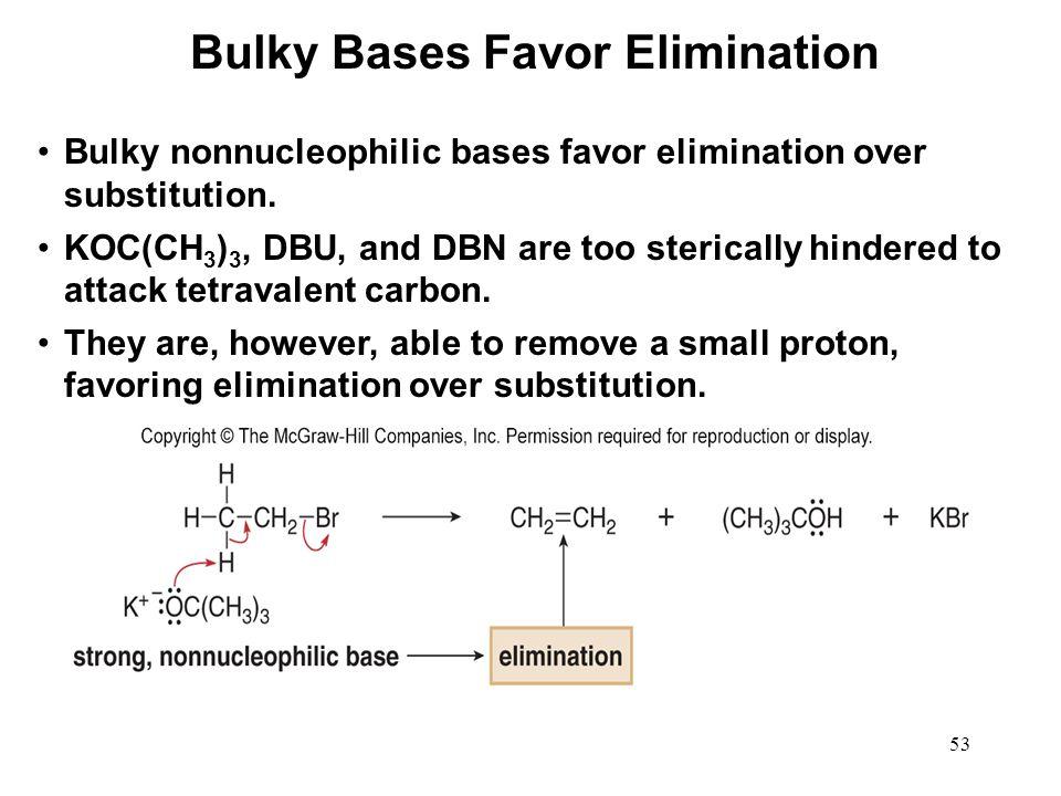 Bulky Bases Favor Elimination