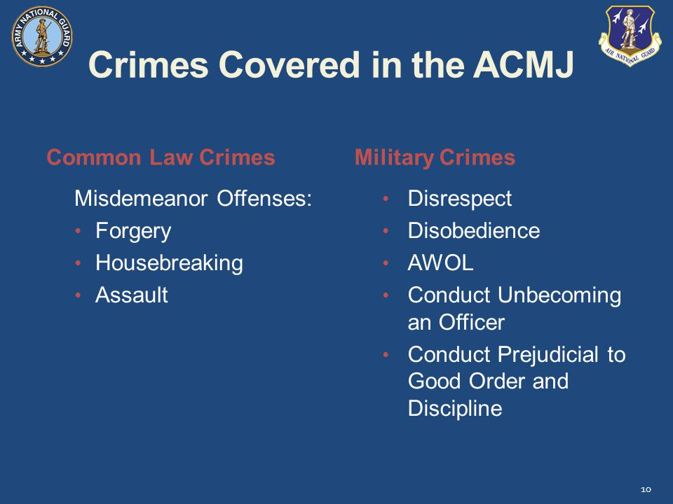 Crimes Covered in the ACMJ