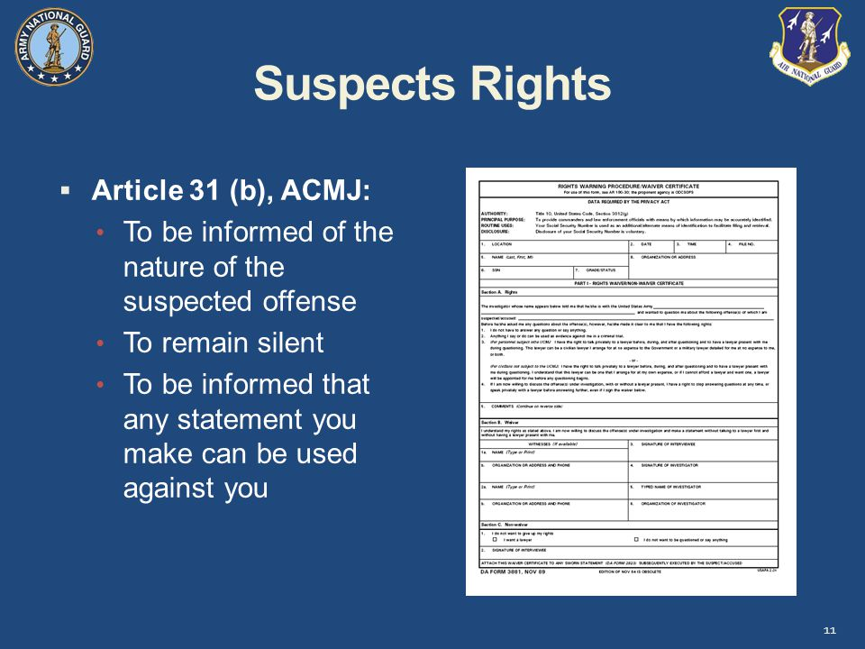 Suspects Rights Article 31 (b), ACMJ: