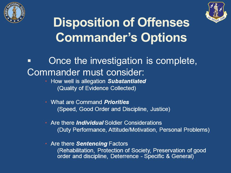 Disposition of Offenses Commander's Options