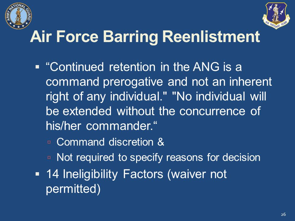 Air Force Barring Reenlistment