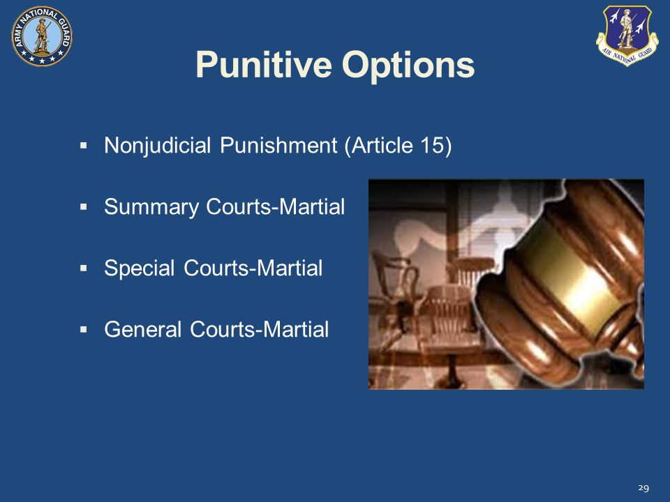 Punitive Options Nonjudicial Punishment (Article 15)