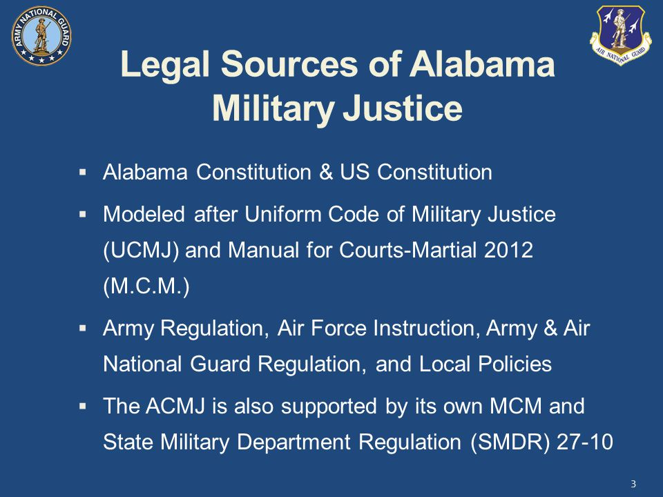 Legal Sources of Alabama Military Justice