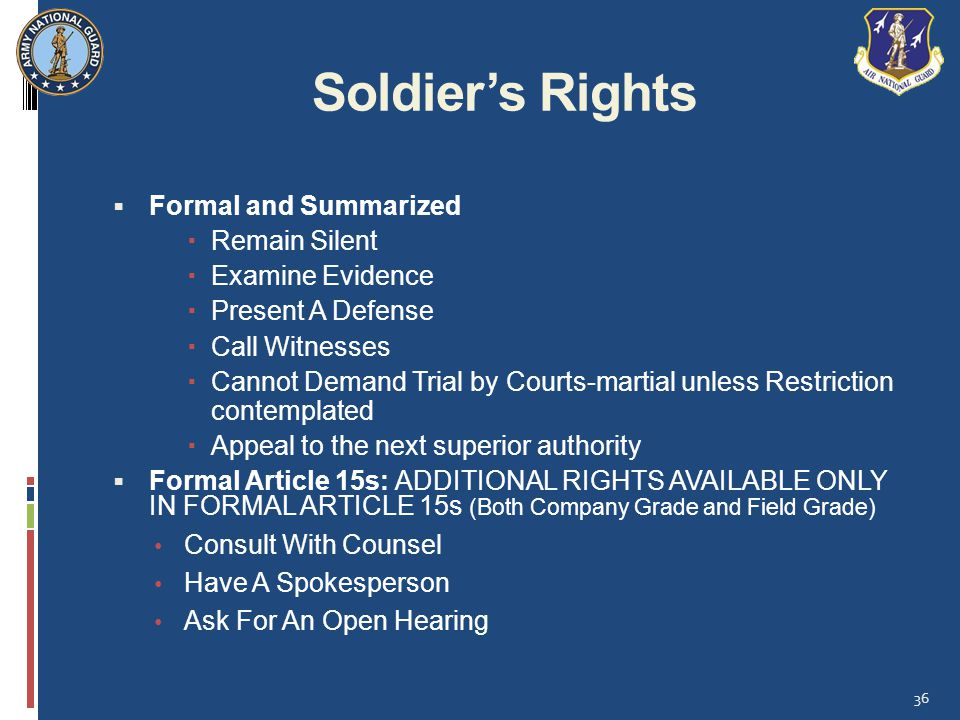 Soldier's Rights Formal and Summarized Remain Silent Examine Evidence