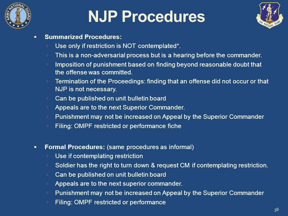 NJP Procedures Summarized Procedures: