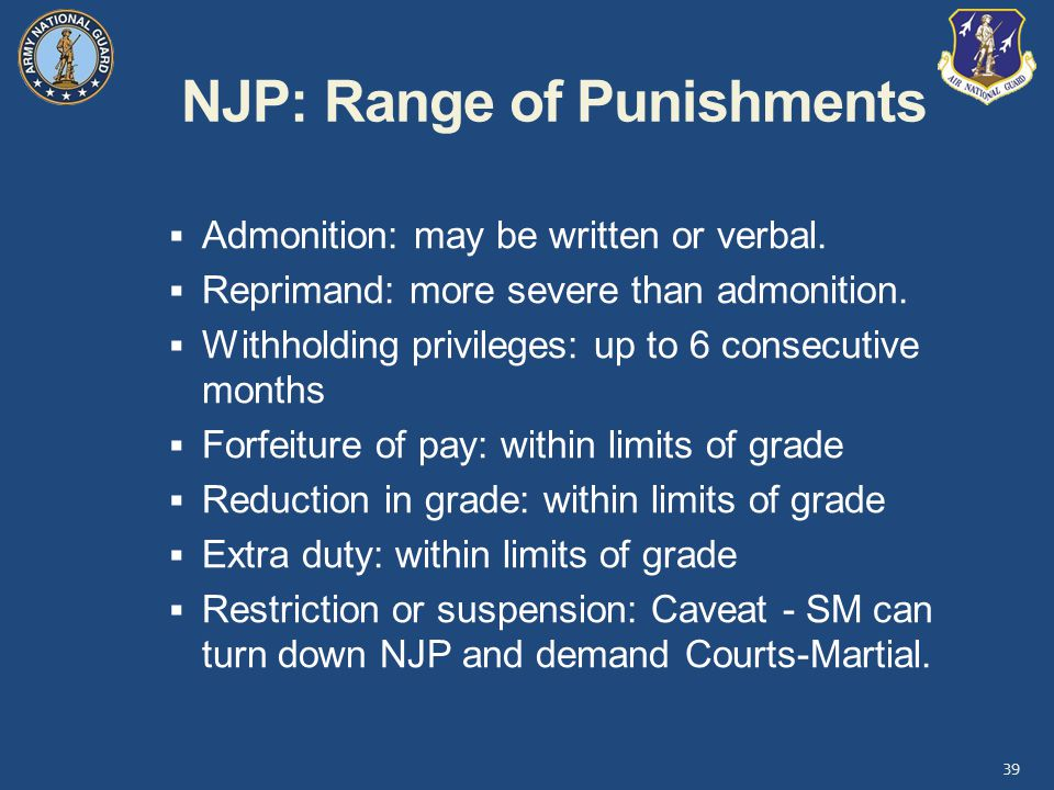 NJP: Range of Punishments