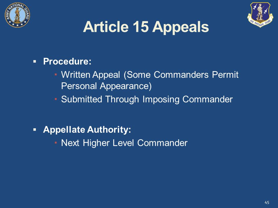 Article 15 Appeals Procedure: