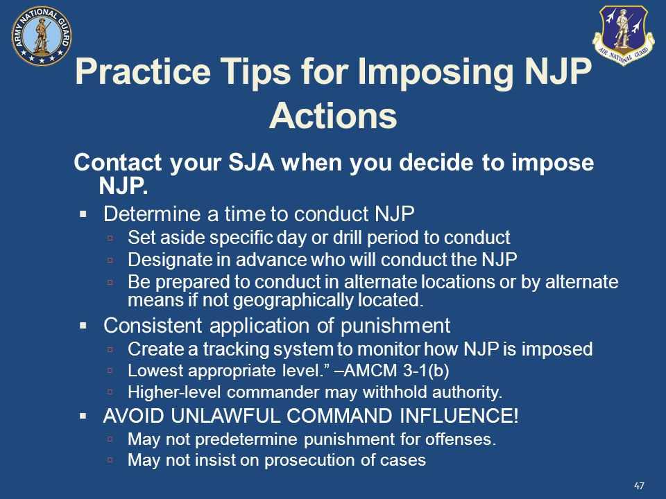 Practice Tips for Imposing NJP Actions