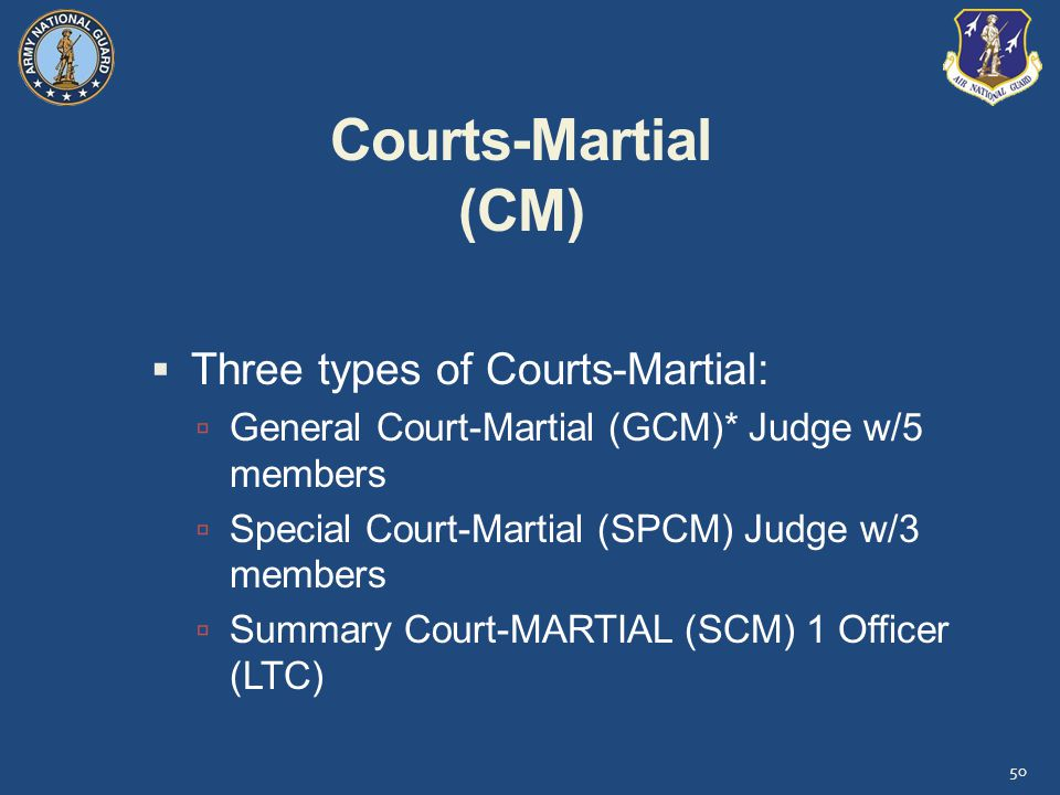 Courts-Martial (CM) Three types of Courts-Martial: