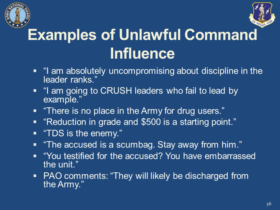 Examples of Unlawful Command Influence