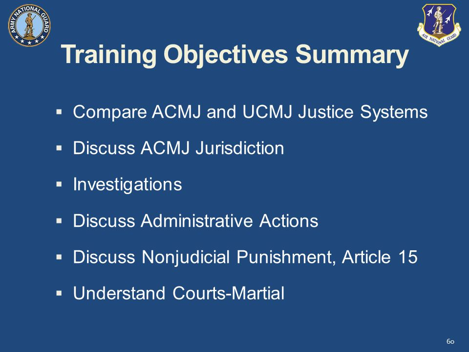 Training Objectives Summary