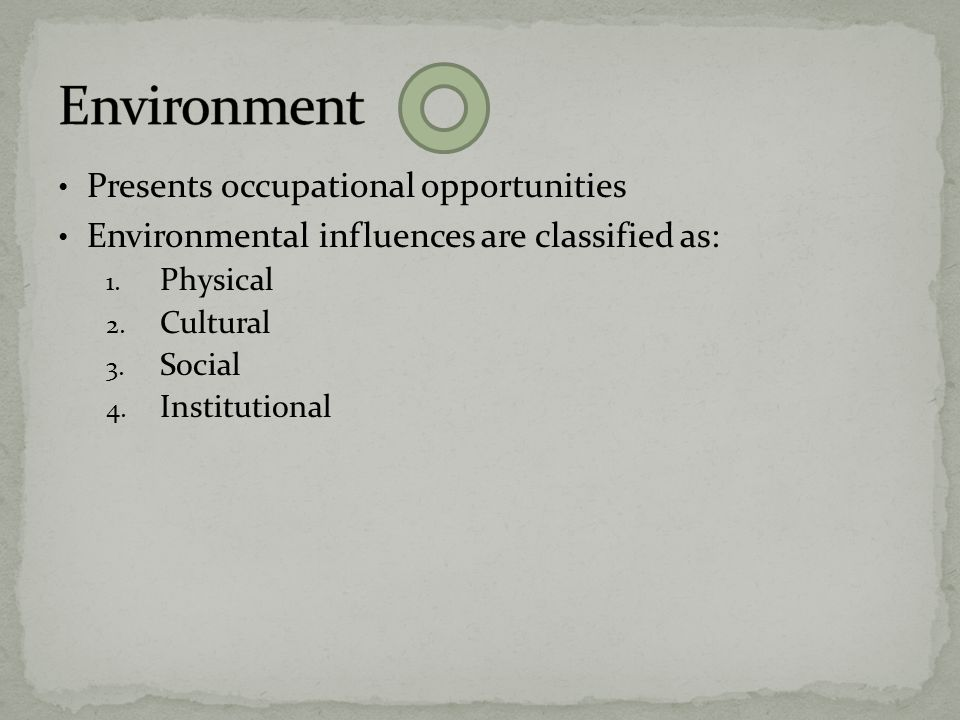 Environment Presents occupational opportunities