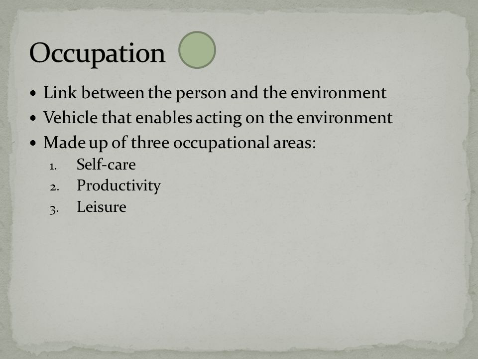 Occupation Link between the person and the environment