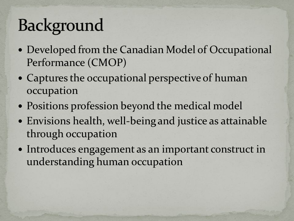 Background Developed from the Canadian Model of Occupational Performance (CMOP) Captures the occupational perspective of human occupation.