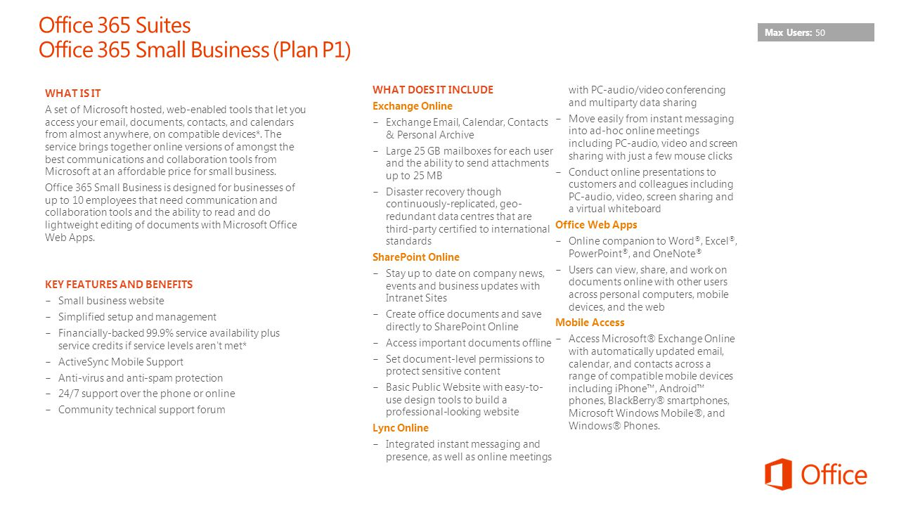 Office 365 Suites Office 365 Small Business (Plan P1)