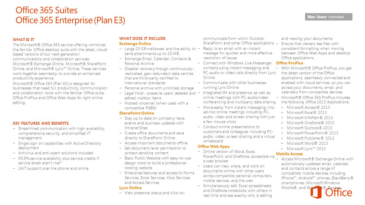 Office 365 Suites Office 365 Enterprise (Plan E3)
