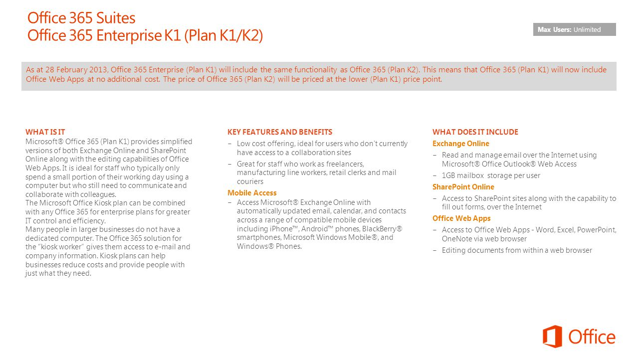 Office 365 Suites Office 365 Enterprise K1 (Plan K1/K2)
