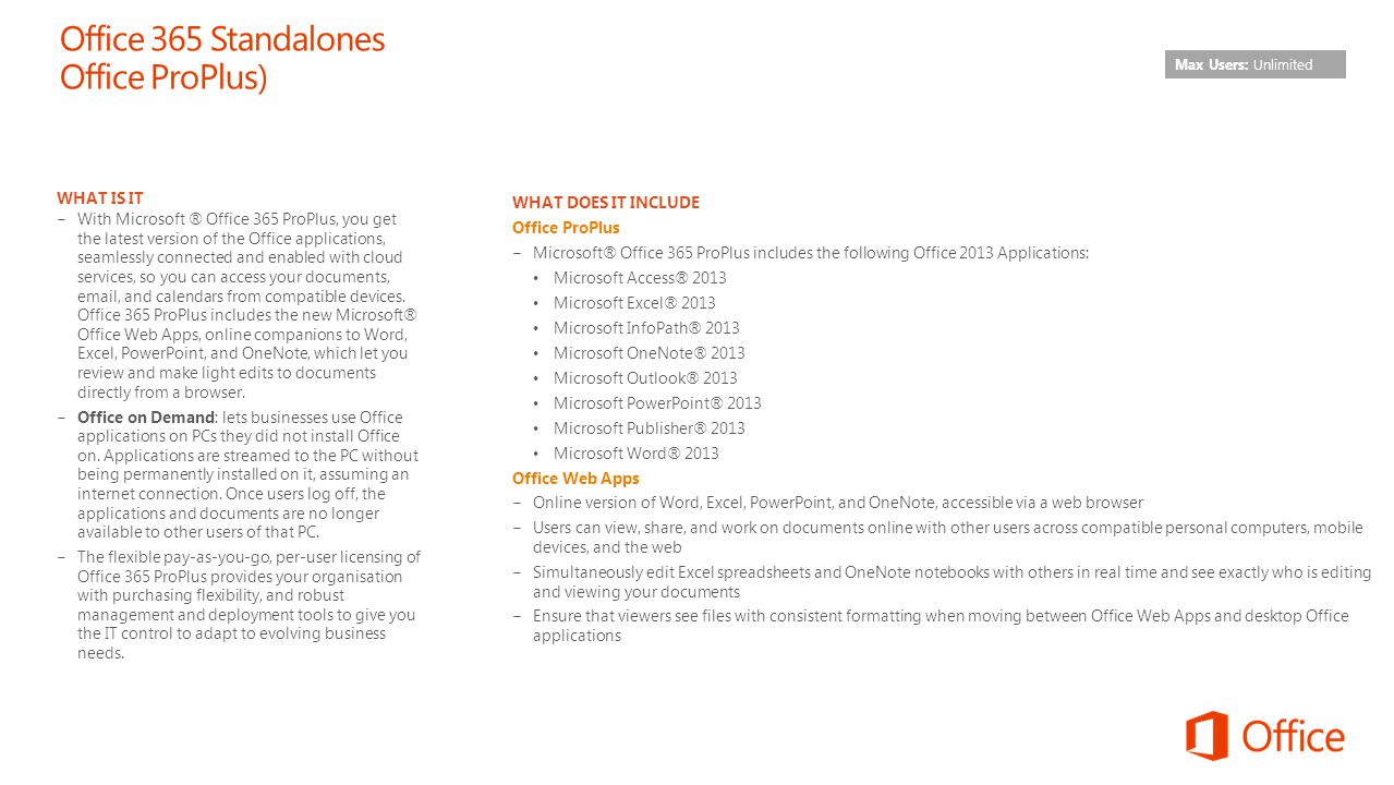 Office 365 Standalones Office ProPlus)