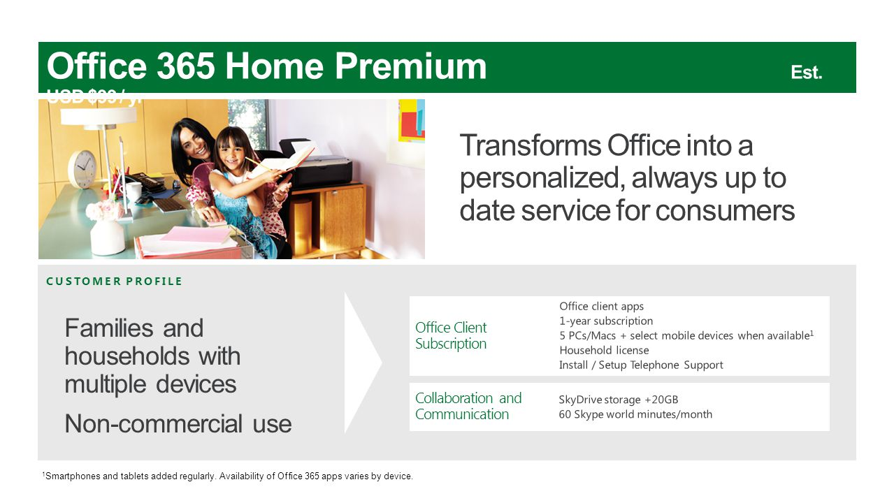 Office 365 Home Premium Est. USD $99 / yr