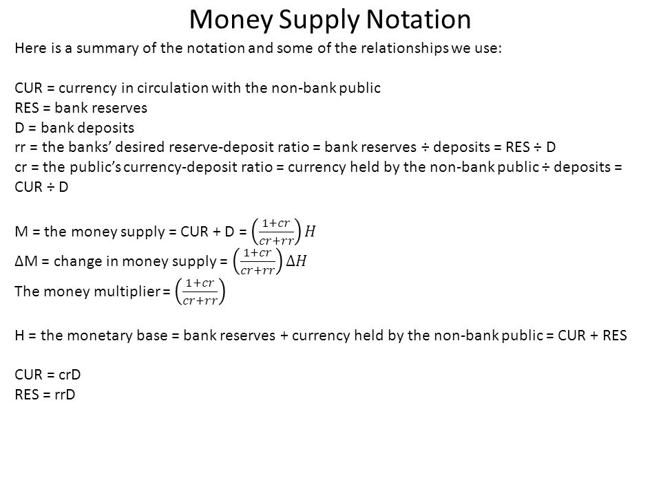Money Supply Notation Here is a summary of the notation and some of the relationships we use: CUR = currency in circulation with the non-bank public.