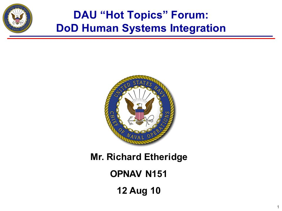 DAU Hot Topics Forum: DoD Human Systems Integration