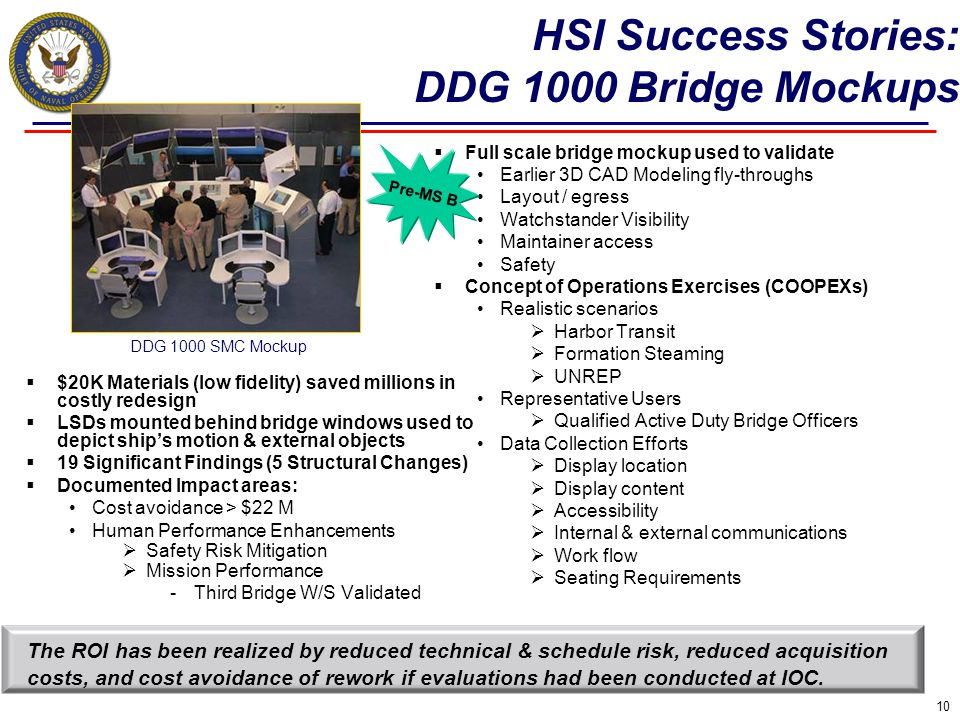 HSI Success Stories: DDG 1000 Bridge Mockups