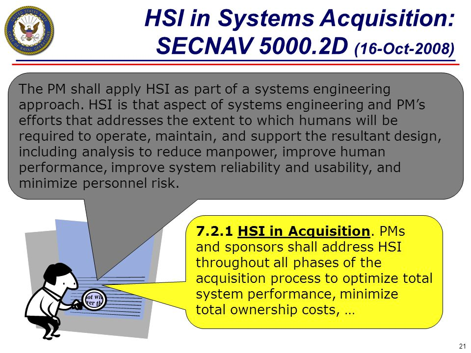HSI in Systems Acquisition: SECNAV 5000.2D (16-Oct-2008)