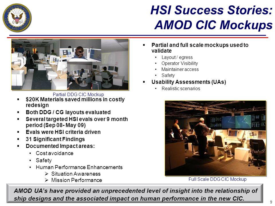 HSI Success Stories: AMOD CIC Mockups