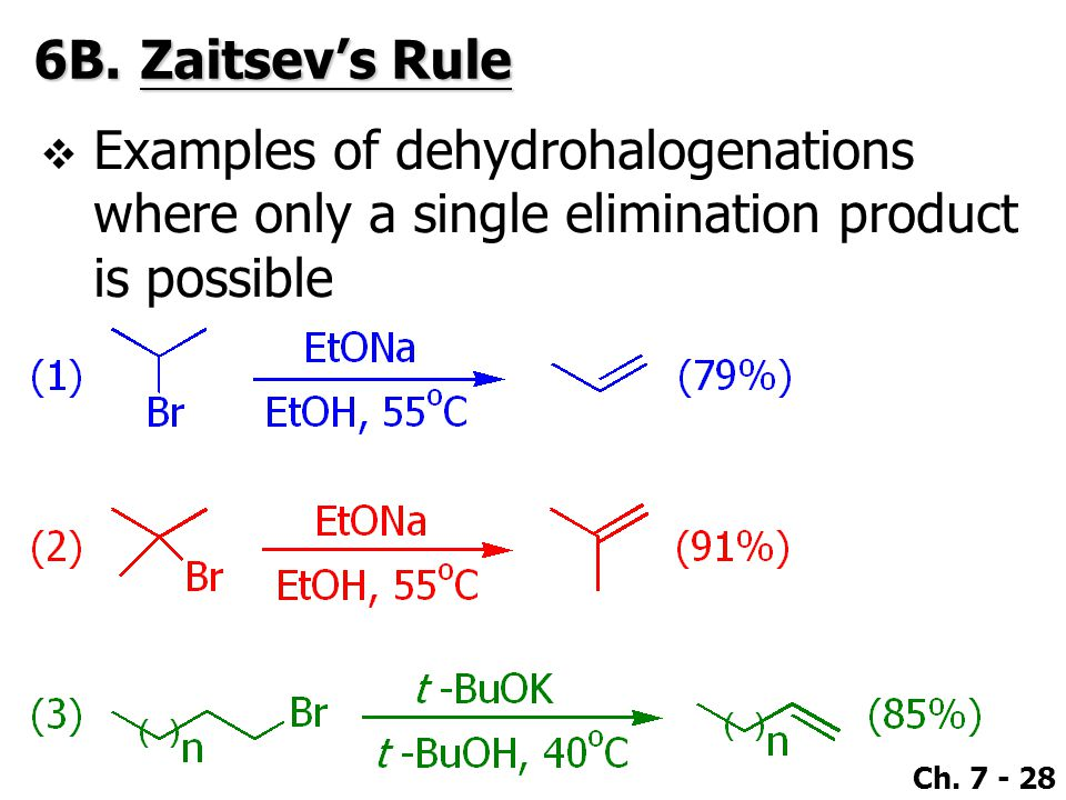 6B. Zaitsev's Rule Examples of dehydrohalogenations where only a single elimination product is possible.