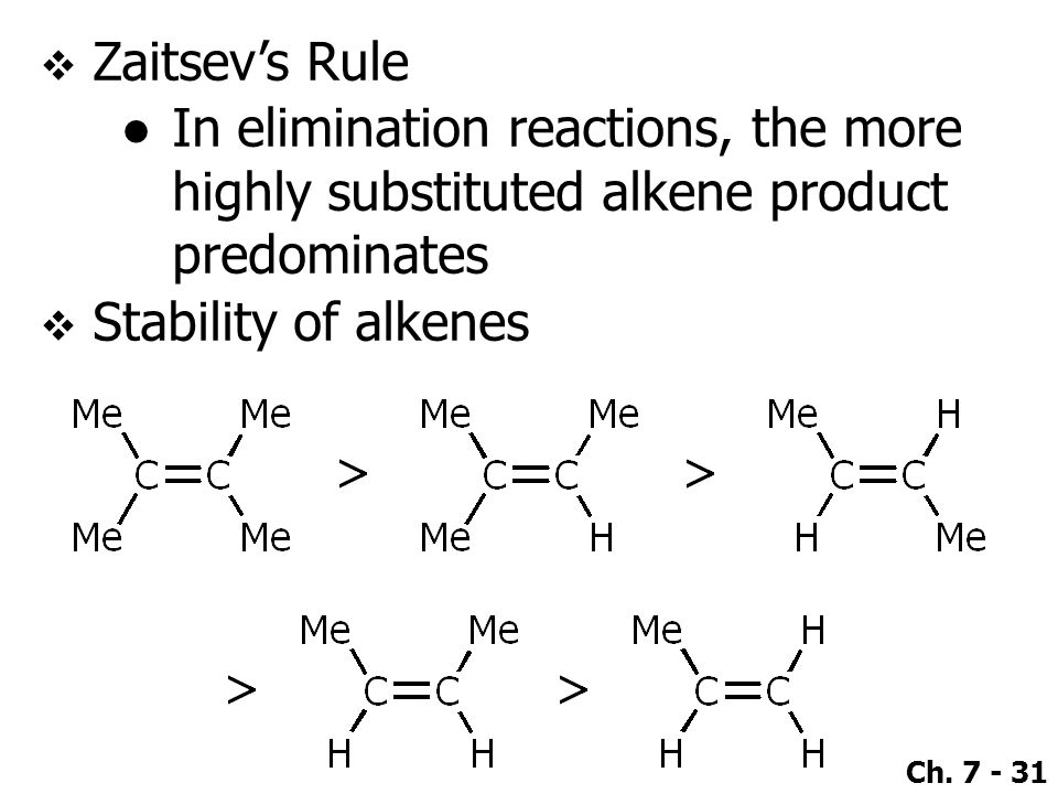 Zaitsev's Rule In elimination reactions, the more highly substituted alkene product predominates.