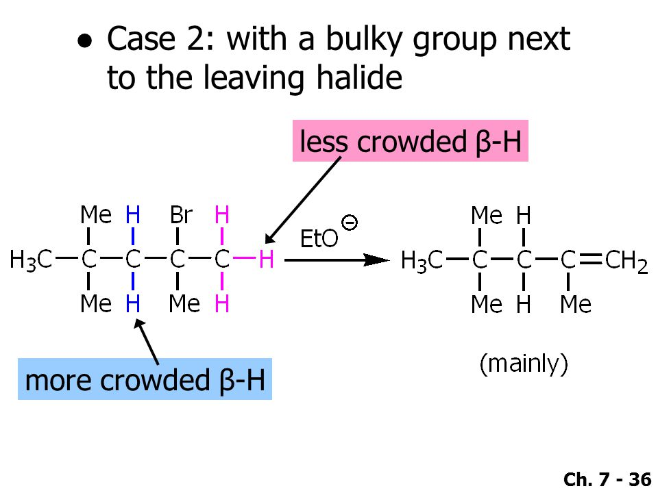 Case 2: with a bulky group next to the leaving halide