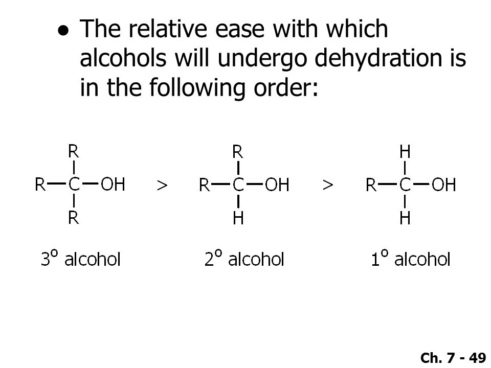 The relative ease with which alcohols will undergo dehydration is in the following order: