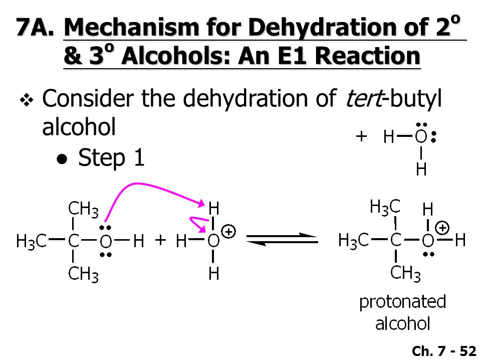 7A. Mechanism for Dehydration of 2o & 3o Alcohols: An E1 Reaction