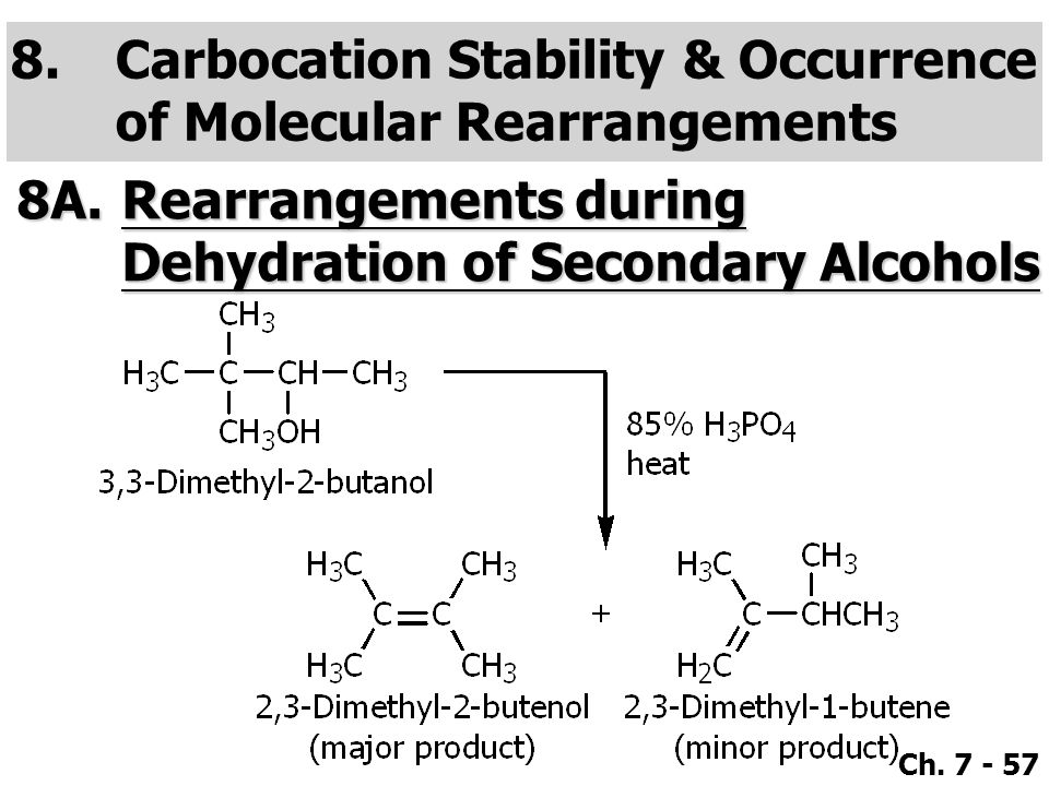 Carbocation Stability & Occurrence of Molecular Rearrangements