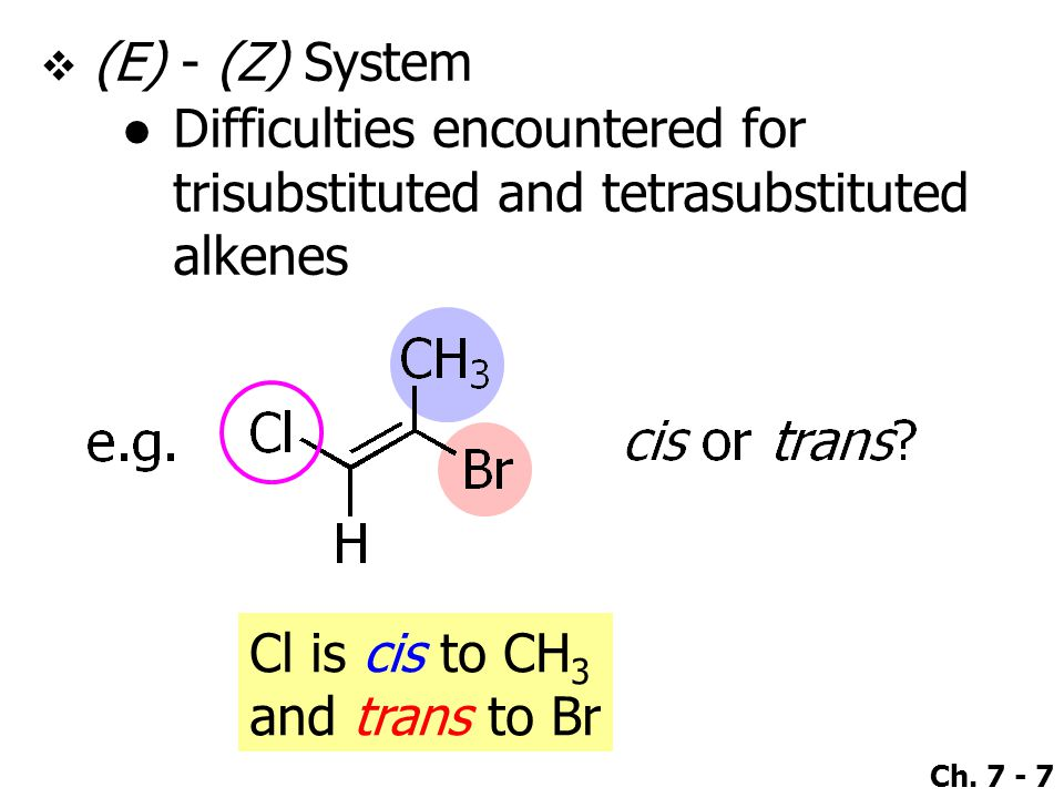 (E) - (Z) System Difficulties encountered for trisubstituted and tetrasubstituted alkenes. Cl is cis to CH3.