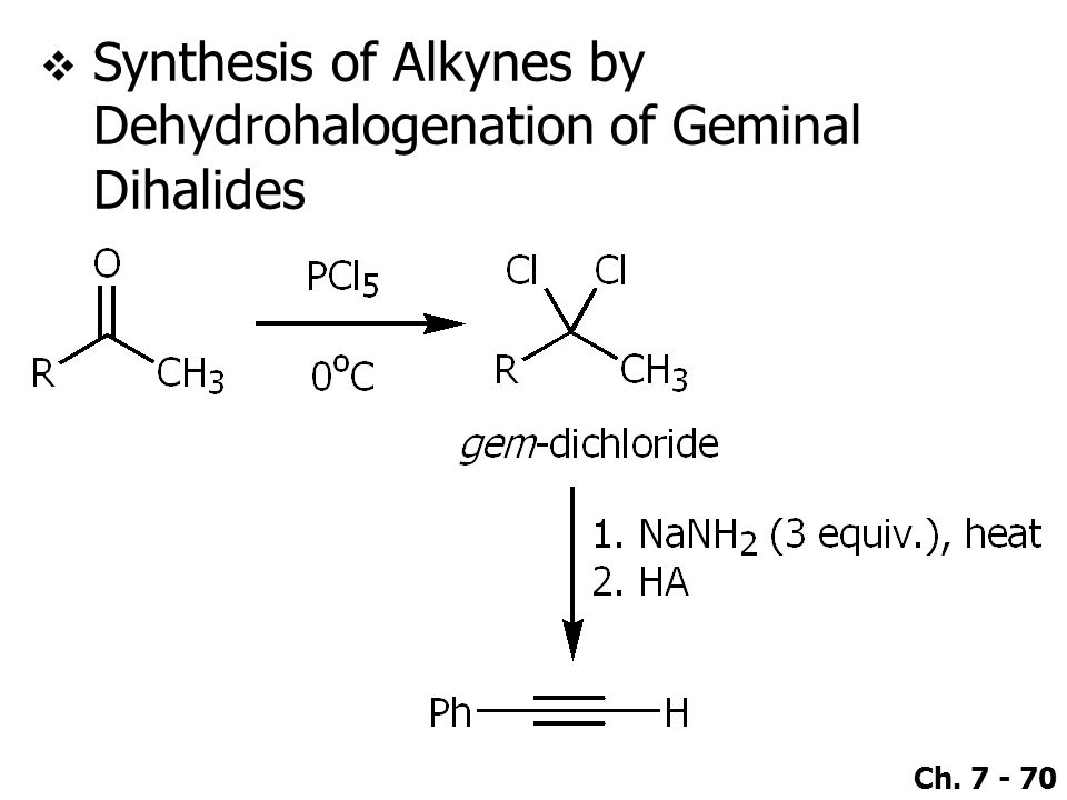 Synthesis of Alkynes by Dehydrohalogenation of Geminal Dihalides