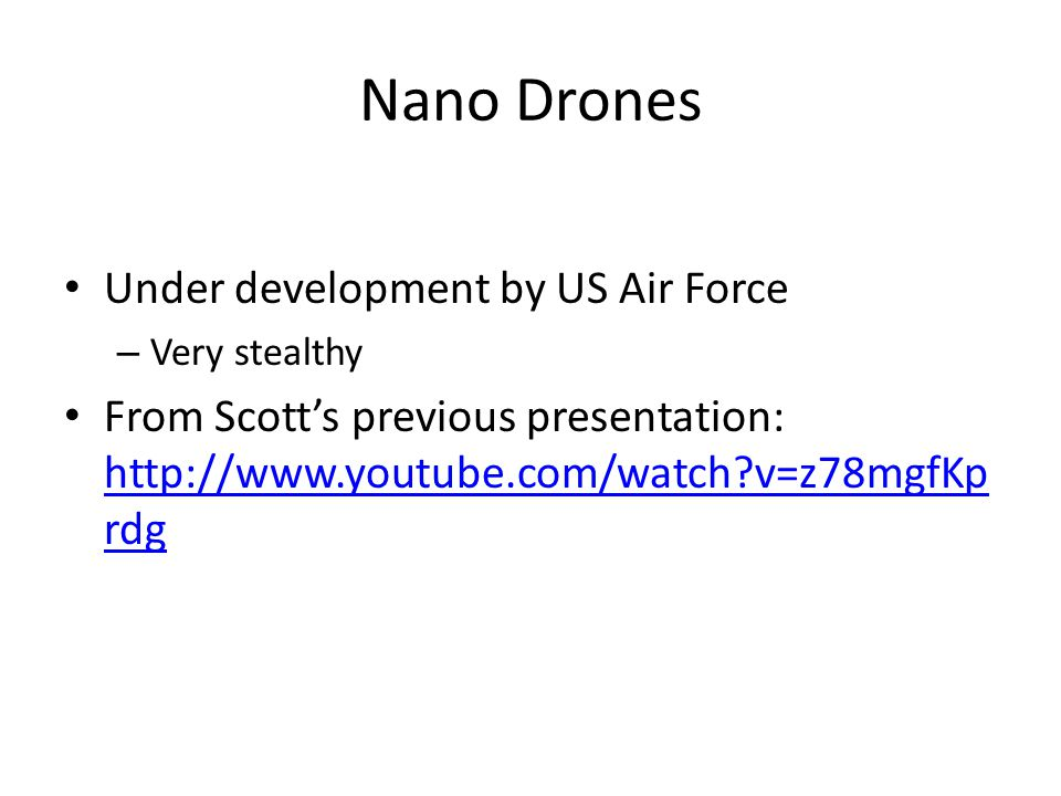 Nano Drones Under development by US Air Force
