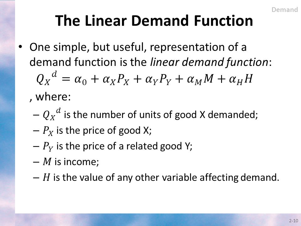 The Linear Demand Function