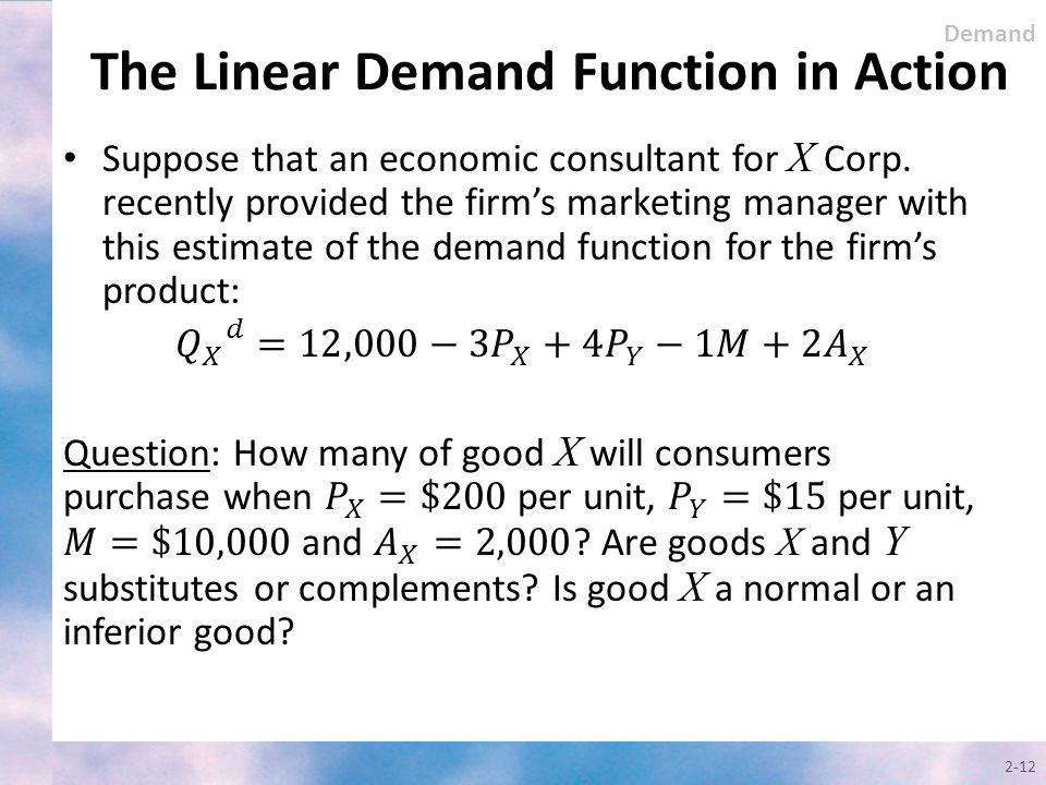 The Linear Demand Function in Action