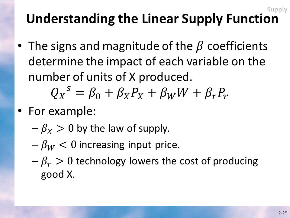 Understanding the Linear Supply Function