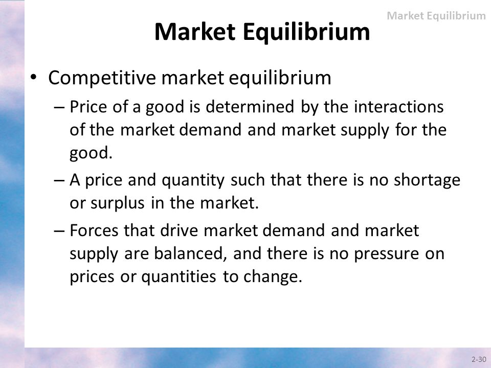 Market Equilibrium Competitive market equilibrium
