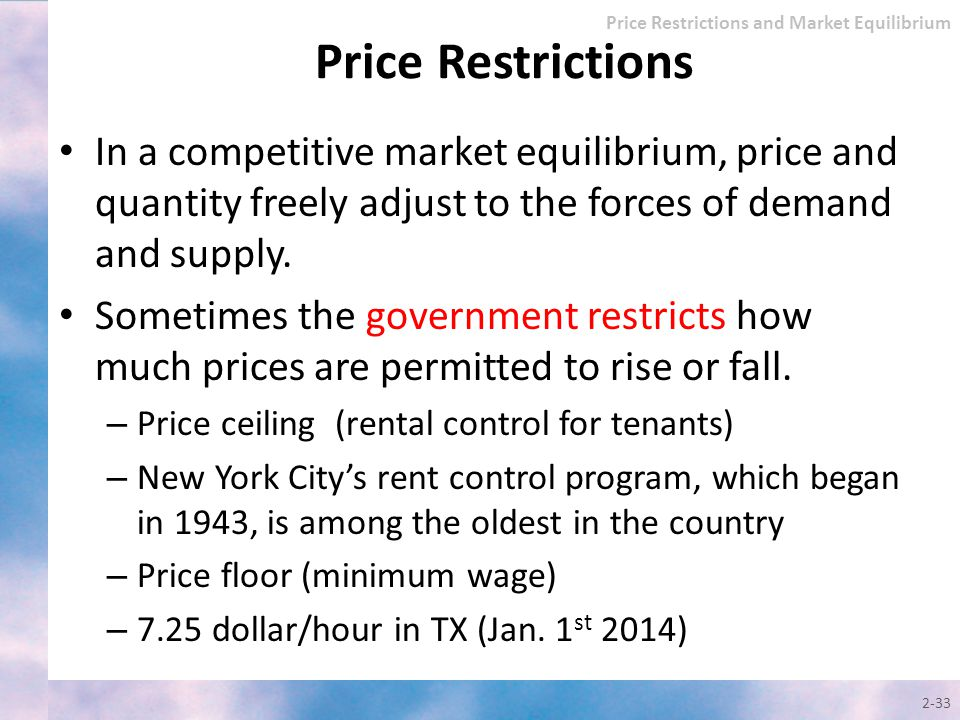 Price Restrictions and Market Equilibrium