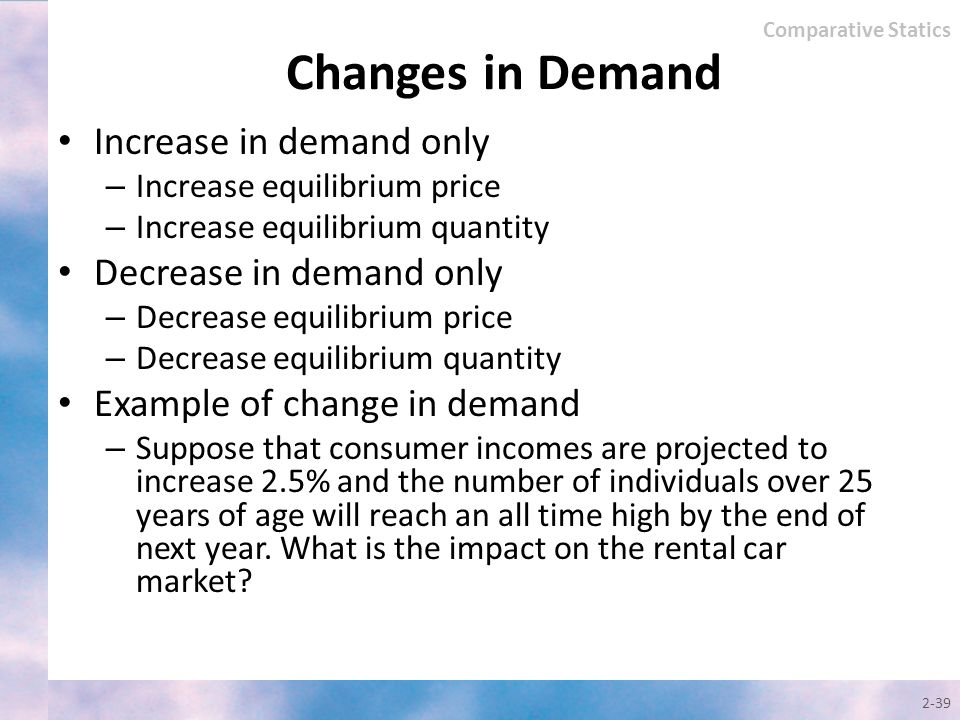 Changes in Demand Increase in demand only Decrease in demand only