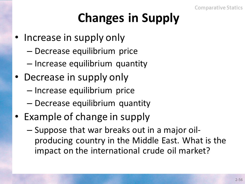 Changes in Supply Increase in supply only Decrease in supply only