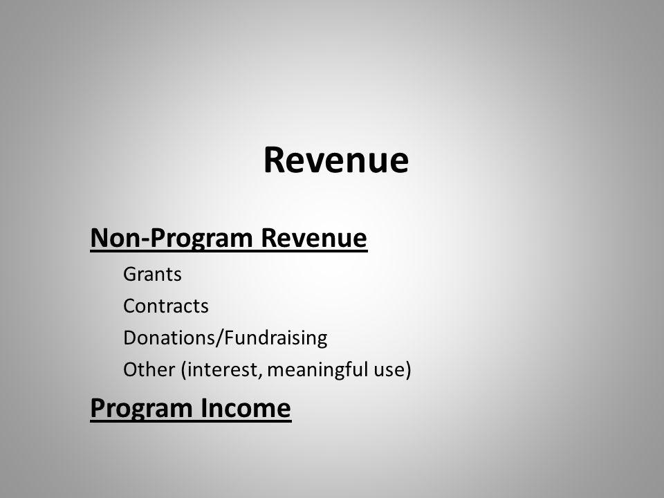 Revenue Non-Program Revenue Program Income Grants Contracts