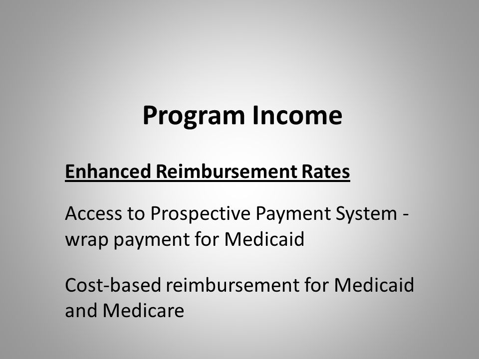 Program Income Enhanced Reimbursement Rates